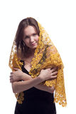 Beauty young woman in yellow lace tippet Royalty Free Stock Photo