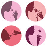 Beauty is youth and nature. Four icons female face silhouette. Beauty is youth and nature. Vector flat design Stock Photo