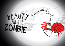 Beauty and the Zombie. Vector illustration of a zombie eating a brain Stock Photography