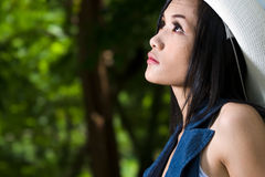 Beautyful asian girl. A beautiful asian girl portrait in the garden Stock Photography