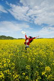 Beautyful asian model in canola field Stock Photos
