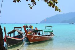 Beautyful bay at Surin National Park of Thailand. Boat parking you will see nice sea view from here and the green of the nature Royalty Free Stock Photography