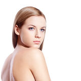 Beautyful blond-brown woman face Stock Photography