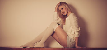 Beautyful blond teenage woman resting Royalty Free Stock Photo
