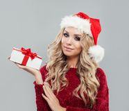 Beautyful blonde woman with christmas gift box stock images