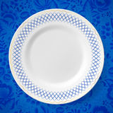 Beautyful blue russian porcelain decorative plate Stock Photo