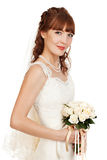 A beautyful bride holding her bouquet from roses and smiling.  I. Solated on white background Stock Image