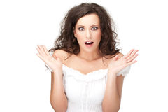 Beautyful brunette surprised Stock Photography