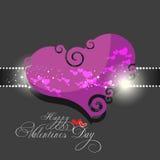 Valentines day background. Beautyful dark pink color valentines day background with swirl heart shape Stock Photos