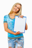 Beautyful female holding clipboard isolated Stock Photos