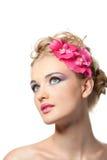 Beautyful Frau mit Blume Stockfoto