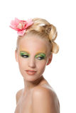Beautyful Frau mit Blume Stockfotos