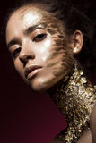 Beautyful girl with gold glitter on her face. Art image beauty. Beautyful girl with gold glitter on her face.Art image beauty face. Picture taken in the studio Stock Photos