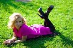 Beautyful girl on grass Stock Photography