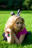 Beautyful girl on grass Royalty Free Stock Images
