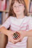 Beautyful girl holding many pencils. Stock Images