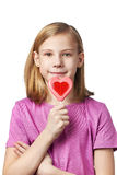 Beautyful girl with lollipop hearts Royalty Free Stock Photos