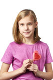Beautyful girl with lollipop hearts Stock Photos