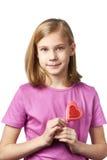 Beautyful girl with lollipop hearts Stock Photos