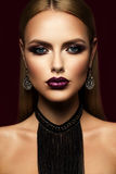 Beautyful girl with pink glitter on her lips Royalty Free Stock Photo