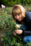 Beautyful girl and roses Stock Photos