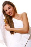 Beautyful girl with a towel royalty free stock photos