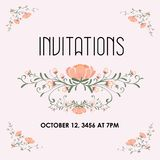 Wedding invitation with flower design. An illustration of a wedding invitation with floral pattern vector illustration