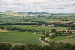 Beautyful landscape with cultivated lands and small villages Royalty Free Stock Image