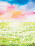 Beautyful landscape watercolor painted Stock Photos