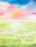 Beautyful-Landschaftsaquarell gemalt Stockfotos