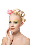 Beautyful woman with flower Royalty Free Stock Photography