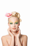 Beautyful woman with flower Royalty Free Stock Images