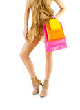 A beautyful woman legs and paper bags Royalty Free Stock Photography