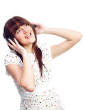 Beautyful woman listening music Royalty Free Stock Photography