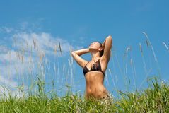 Beautyful woman relaxation. Young adult  woman relaxation in  summer vacation Stock Photo