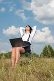 Beautyful woman relaxation. Young adult woman relaxation after hard work stock photo