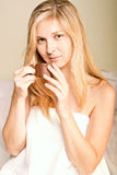 Beautyful woman in spa. Beautyful blomde woman in spa with white towel relaxing Royalty Free Stock Photo