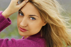 Beautyful womans face outdoor Stock Images