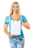 Beautyful young girl holding clipboard Stock Photography