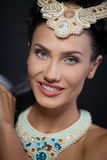 Beautyful young woman portrait. jewerly and diamonds Royalty Free Stock Photo