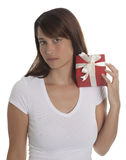 Beautyful young woman with a present Royalty Free Stock Photos