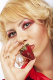 Beautyfull girl with strawberry Stock Images