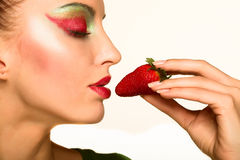 Beautyfull girl with strawberry Stock Photos
