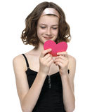 Beautyfull teenage girl reading love massage Royalty Free Stock Images