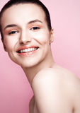 Beautyl girl natural makeup spa skin care on pink Stock Photos