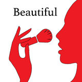 Beautyl woman face with make-up brush. A beautifui womans face with make-up brush silhouette flat icon illustration EPS10 Stock Photos
