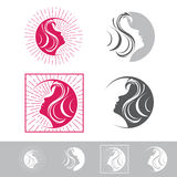 Beauté Logo Design Set de visage de femme illustration de vecteur