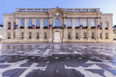 Beauvais City Hall at night. Beauvais, Hauts-de-France, France royalty free stock images