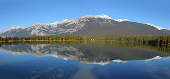 Beauvert lake landscape in Jasper national park stock image