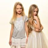 beauvoir 秀丽和时尚概念 真正的自然秀丽 在白色隔绝的两个女孩的美容院 库存图片